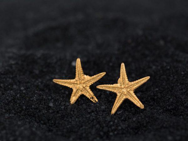 Χειροποίητα Ασημένια Επίχρυσα Σκουλαρίκια Καρφάκια Αστερίες