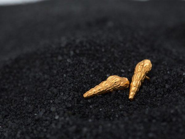 Χειροποίητα Ασημένια Επίχρυσα Σκουλαρίκια Καρφάκια Κοχύλια Μικρές Τουριτέλες
