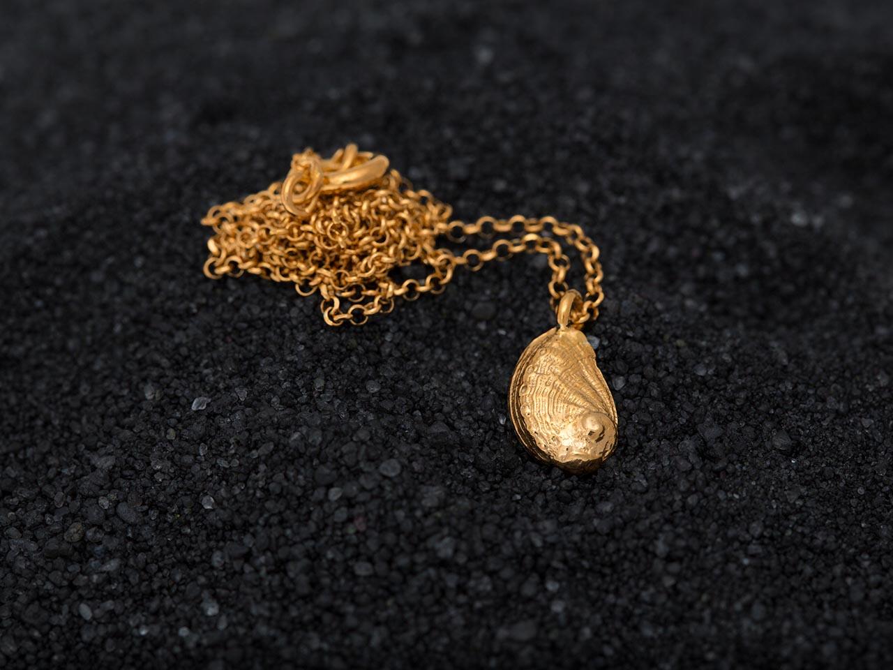 ασημένιο κοχύλι κρεμαστό χρυσό