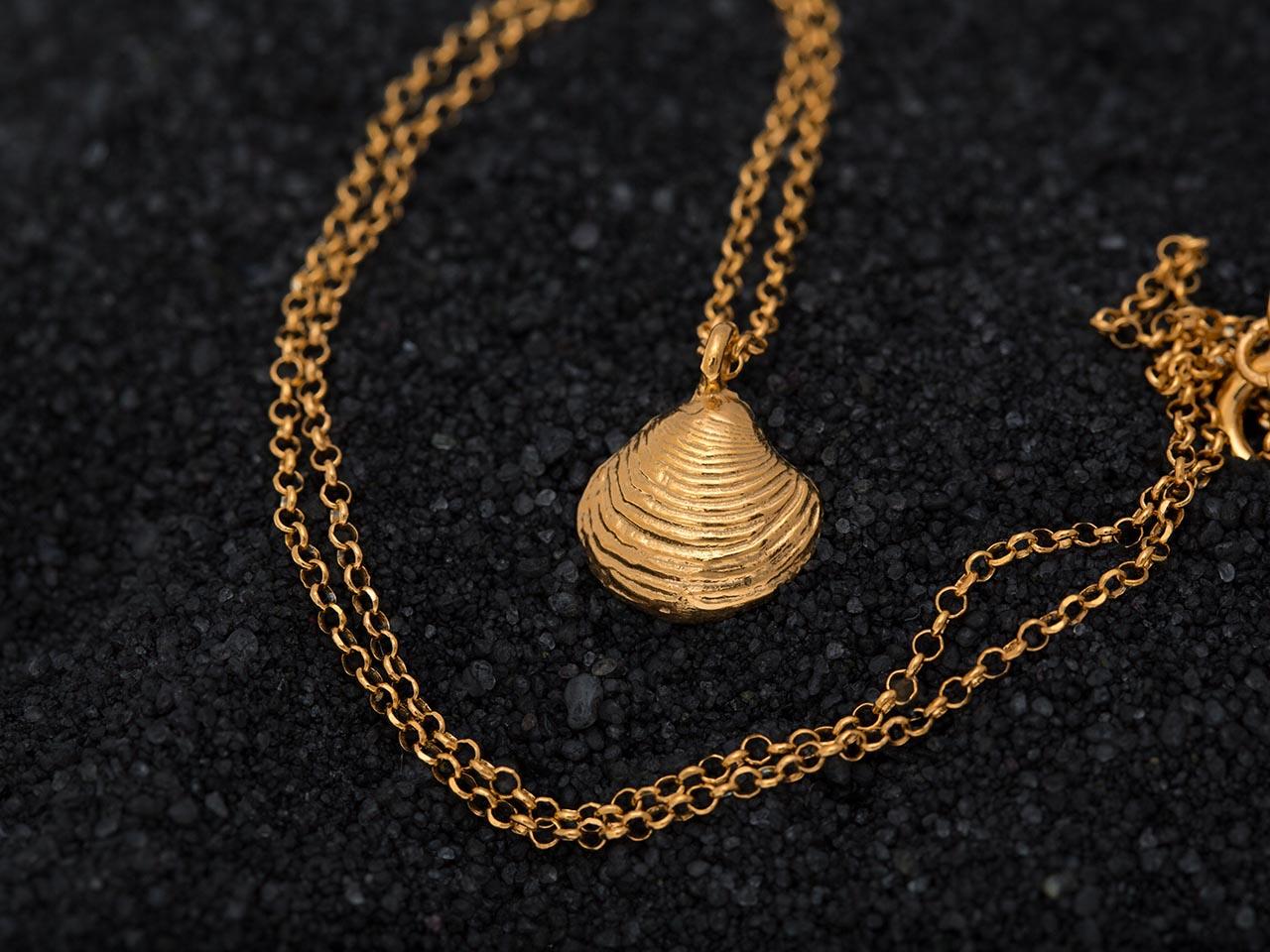 ασημένιο κοχύλι αχιβάδα κρεμαστό χρυσό