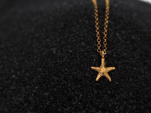 Χειροποίητο Ασημένιο Επίχρυσο Κρεμαστό Αστερίας Μικρός