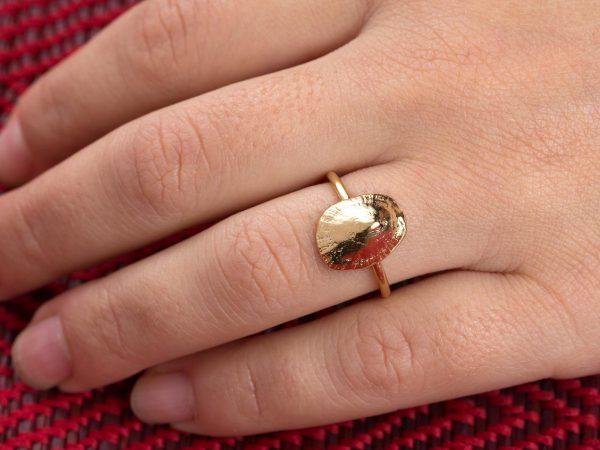 Χειροποίητο Ασημένιο Επίχρυσο Δαχτυλίδι Κοχύλι Πεταλίδα