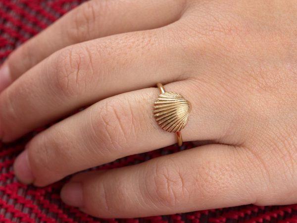 Χειροποίητο Ασημένιο Επίχρυσο Δαχτυλίδι Κοχύλι Αχιβάδα
