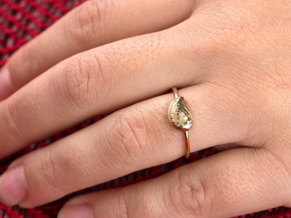 """Χειροποίητο Ασημένιο Επίχρυσο Δαχτυλίδι Κοχύλι """"Άμπαλον"""""""