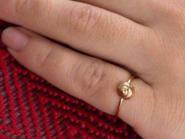 Χειροποίητο Ασημένιο Επίχρυσο Δαχτυλίδι Κοχύλι Σαλιγκάρι