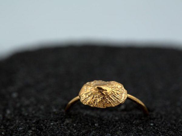 Χειροποίητο Ασημένιο Επίχρυσο Δαχτυλίδι Κοχύλι Μικρή Πεταλίδα