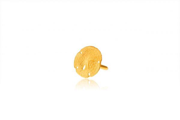 Χειροποίητο Ασημένιο Επίχρυσο Δαχτυλίδι Κοχύλι ''Δολάριο της Άμμου''