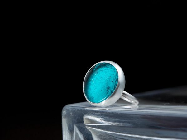 Χειροποίητο Ασημένιο Μεγάλο Δαχτυλίδι Παστίλια Πετρόλ
