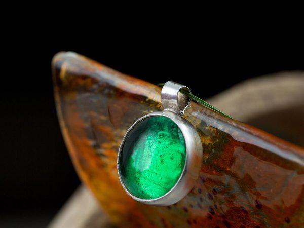 Χειροποίητο Ασημένιο Μεγάλο Κρεμαστό Πράσινη Σμαραγδί Παστίλια
