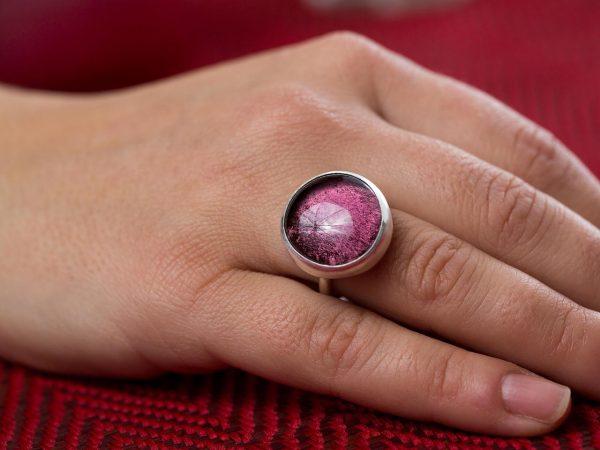 Χειροποίητο Ασημένιο Μεγάλο Δαχτυλίδι με Μωβ Αμέθυστο Παστίλια