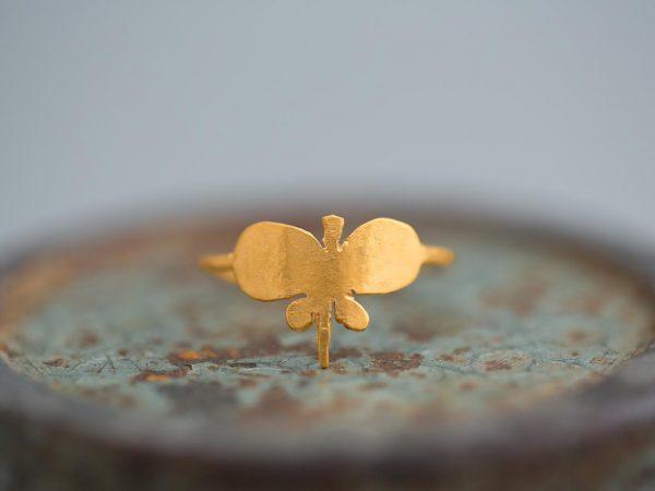 Χειροποίητο Ασημένιο Επίχρυσο Δαχτυλίδι Απλή Πεταλούδα