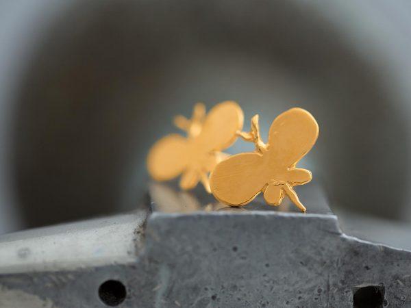 Χειροποίητα Ασημένια Επίχρυσα Σκουλαρίκια Απλή Πεταλούδα
