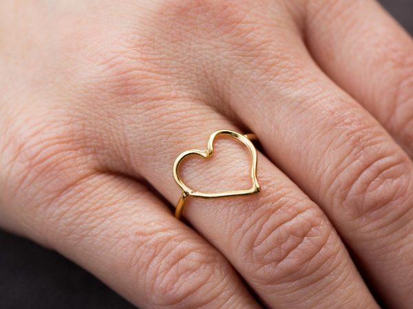 Χειροποίητο Ασημένιο Επίχρυσο Δαχτυλίδι Περίγραμμα Καρδιάς