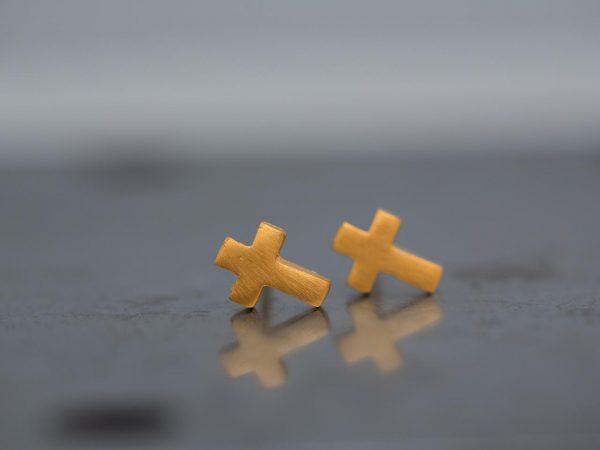 Χειροποίητα Ασημένια Επίχρυσα Σκουλαρίκια Μικροσκοπικοί Σταυροί