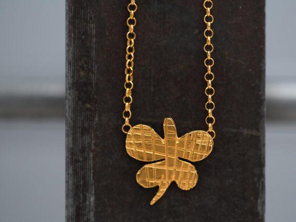 Χειροποίητο Ασημένιο Επίχρυσο Κρεμαστό Ριγέ Πεταλούδα