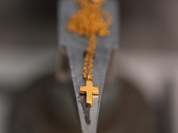 Χειροποίητο Ασημένιο Επίχρυσο Κρεμαστό Μικροσκοπικός Σταυρός