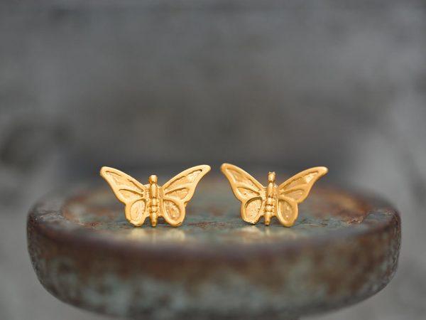 Χειροποίητα Ασημένια Επίχρυσα Σκουλαρίκια Πεταλούδα