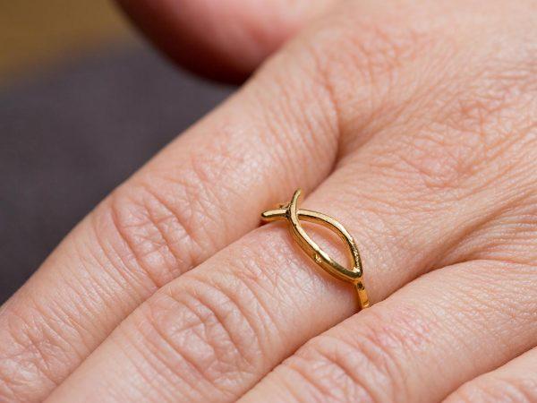 Χειροποίητο Ασημένιο Επίχρυσο Δαχτυλίδι Ψαράκι ΙΧΘΥΣ