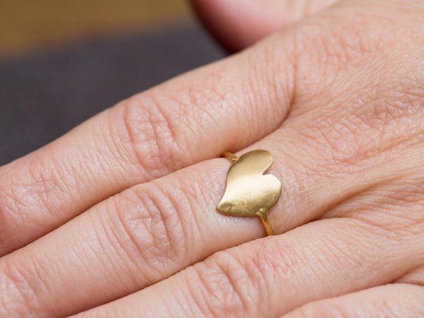 Χειροποίητο Ασημένιο Επίχρυσο Δαχτυλίδι Καρδιά