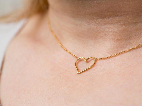 Χειροποίητο Ασημένιο Επίχρυσο Κρεμαστό Περίγραμμα Καρδιάς