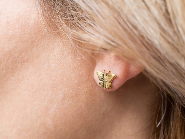 Χειροποίητα Ασημένια Επίχρυσα Σκουλαρίκια Μικροσκοπική Πεταλούδα