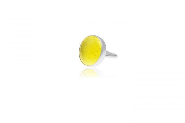 Χειροποίητο Ασημένιο Μεγάλο Δαχτυλίδι Κίτρινη Λεμονί Παστίλια