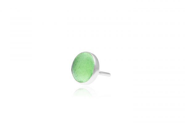 Χειροποίητo Ασημένιo Μεγάλο Δαχτυλίδι με Πράσινη Λαχανί Παστίλια