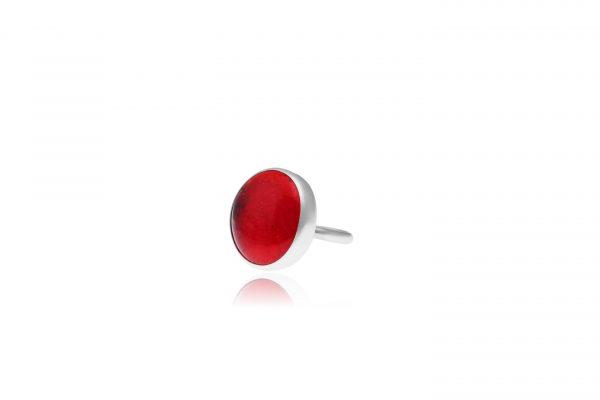 Χειροποίητο Ασημένιο Μεγάλο Δαχτυλίδι με Κόκκινη της Φωτιάς Παστίλια