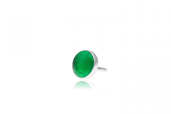 Χειροποίητο Ασημένιο Μεγάλο Δαχτυλίδι με Πράσινη του Σμαραγδιού Παστίλια