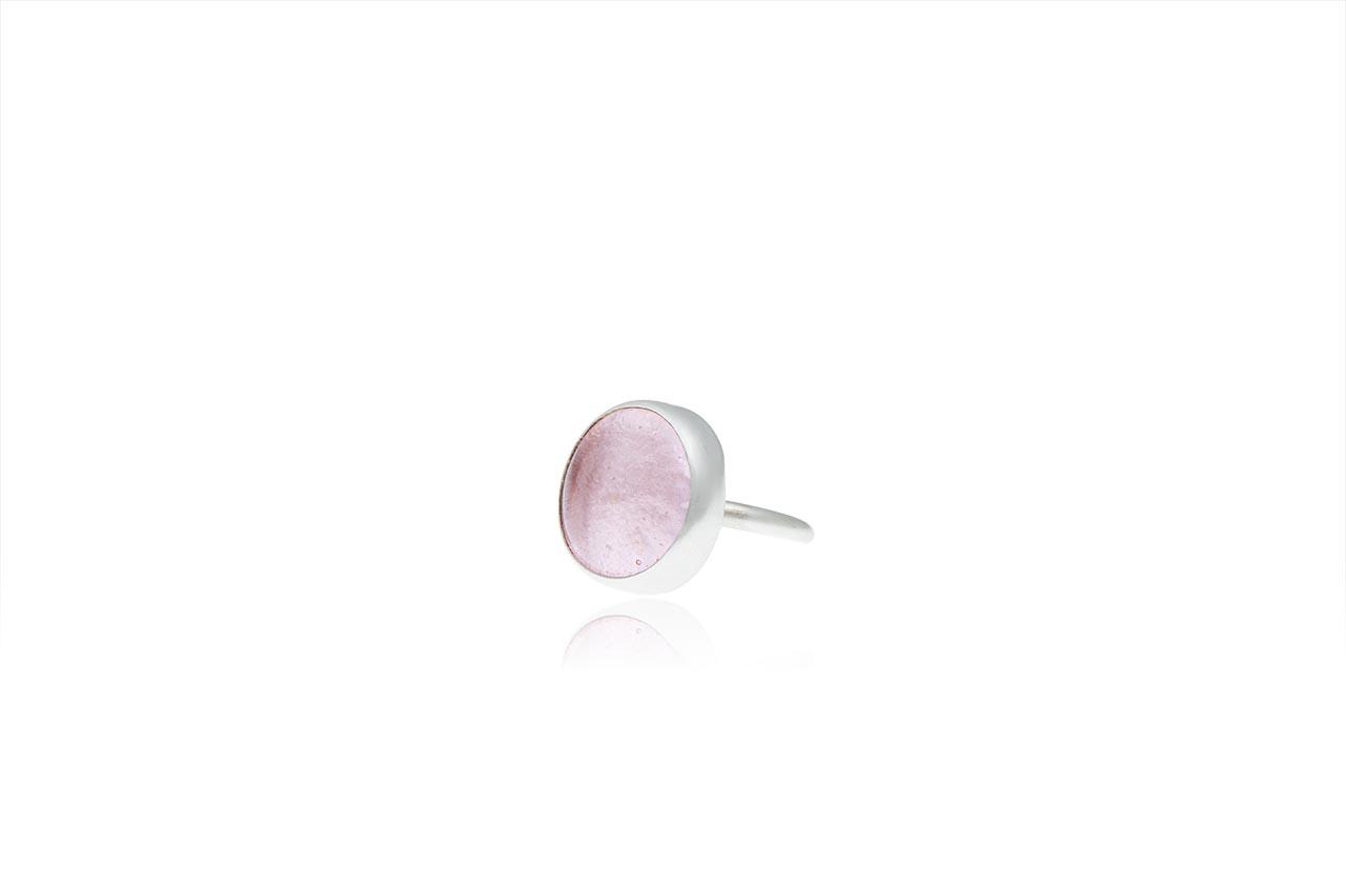 ασημένιο δαχτυλίδι απαλό ροζ