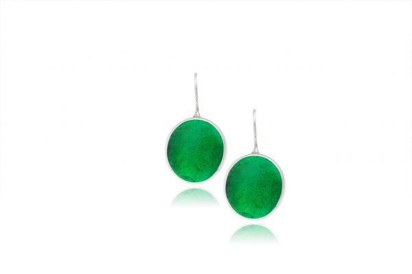 Χειροποίητα Ασημένια Μεγάλα Σκουλαρίκια Πράσινες του Σμαραγδιού Παστίλιες