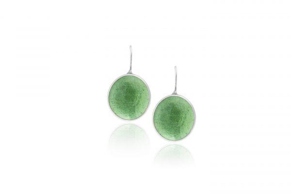 Χειροποίητα Ασημένια Μεγάλα Σκουλαρίκια Πράσινες Λαχανί Παστίλιες