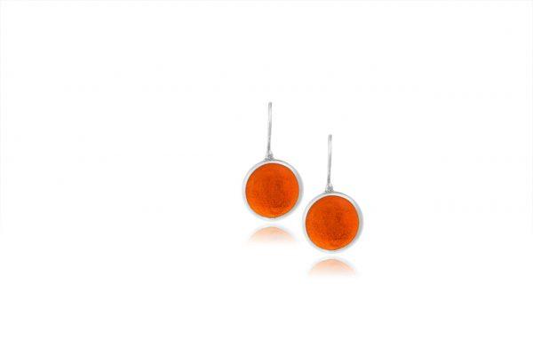 Χειροποίητα Ασημένια Μικρά Σκουλαρίκια Παστίλιες Πορτοκαλί