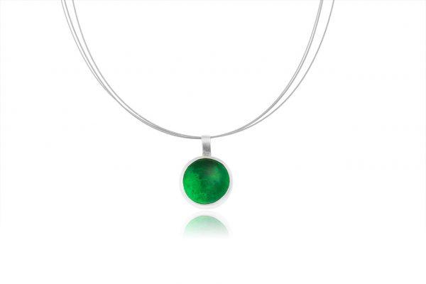 Χειροποίητο Ασημένιο Μικρό Κρεμαστό Πράσινη Σμαραγδί Παστίλια