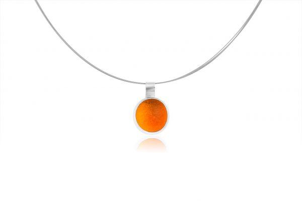 Χειροποίητο Ασημένιο Μικρό Κρεμαστο Πορτοκαλί Παστίλια