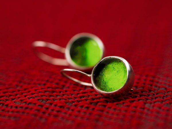 Χειροποίητα Ασημένια Μικρά Σκουλαρίκια Πράσινες Λαχανί Παστίλιες