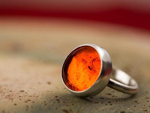 Χειροποίητο Ασημένιο Μικρό Δαχτυλίδι Πορτοκαλί Παστίλια