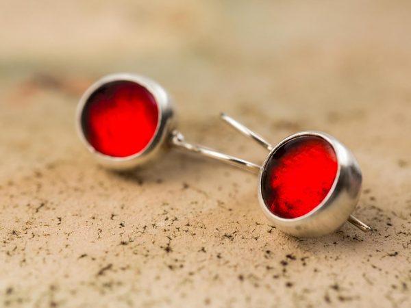 Χειροποίητα Ασημένια Μικρά Σκουλαρίκια Παστίλιες Κοκκινες της φωτιάς
