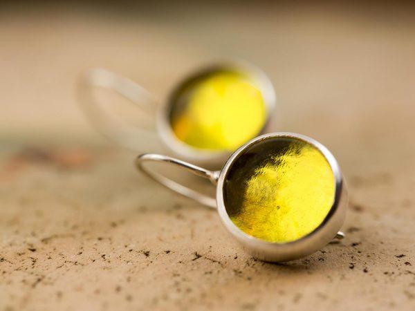 Χειροποίητα Ασημένια Μικρά Σκουλαρίκια Κίτρινη Λεμονί Παστίλια