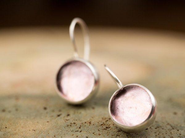 Χειροποίητα Ασημένια Μικρά Σκουλαρίκια Ροζ Παστίλιες