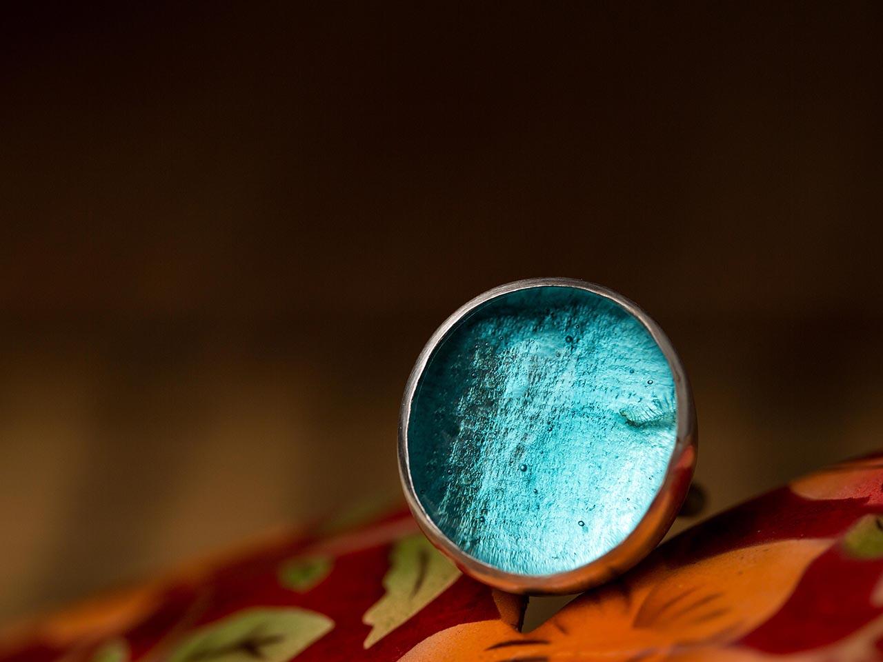 δαχτυλίδι παστίλια γαλάζια άκουα μαρίνα