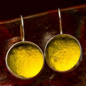 Hand Made Sterling Silver Big Lemon Yellow Pastille Earrings