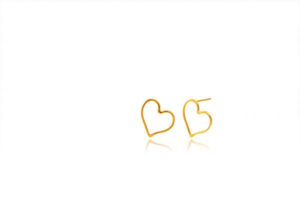 Χειροποίητα Ασημένια Επίχρυσα Σκουλαρίκια Περίγραμμα Καρδιά