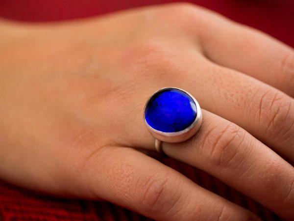 Χειροποίητο Ασημένιο Μεγάλο Δαχτυλίδι με Μπλε του Ζαφειριού Παστίλια