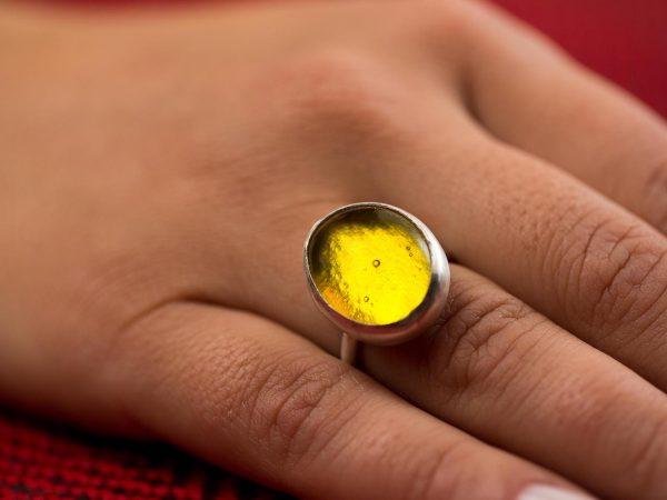 Χειροποίητο Ασημένιο Μικρό Δαχτυλίδι Κίτρινη Λεμονί Παστίλια
