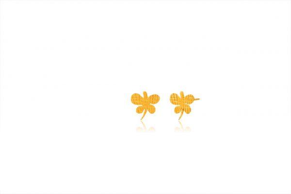 Χειροποίητα Ασημένια Επίχρυσα Σκουλαρίκια Ριγέ Πεταλούδες