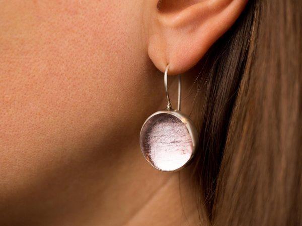 Χειροποίητα Ασημένια Μεγάλα Σκουλαρίκια Ροζ Παστίλιες