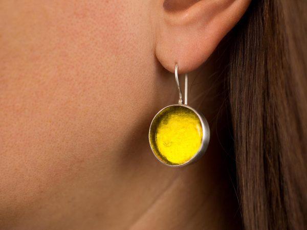Χειροποίητα Ασημένια Μεγάλα Σκουλαρίκια Κίτρινη Λεμονί Παστίλια