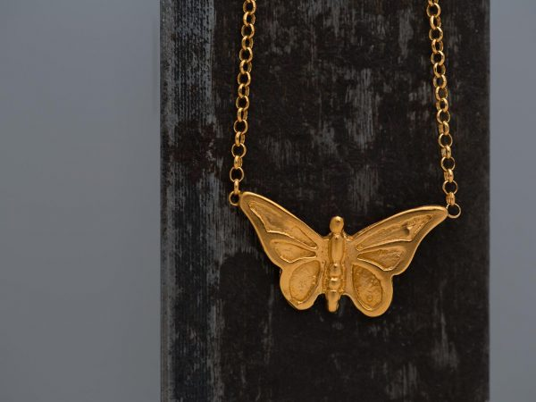 Χειροποίητο Ασημένιο Επίχρυσο Κρεμαστό Πεταλούδα