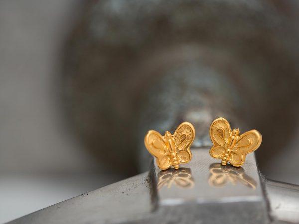 Χειροποίητα Ασημένια Επίχρυσα Σκουλαρίκια Μικρή Πεταλούδα